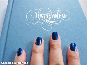 blue nail polish on Hallowed cover