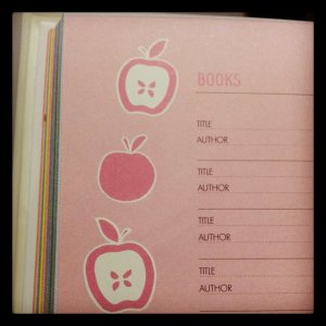 Books page in 2013 planner
