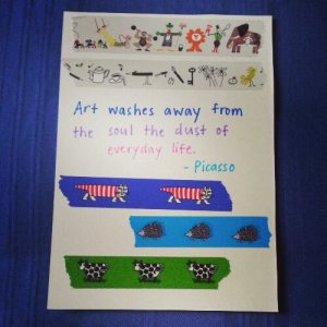 washi postcard - Picasso quote
