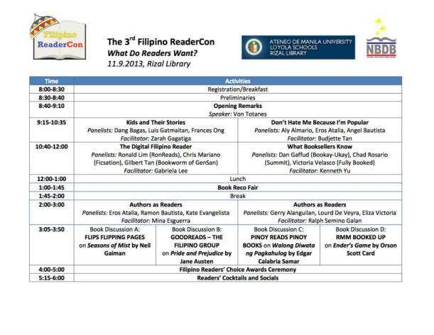 Filipino ReaderCon 2013 program