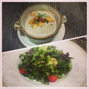 Soup and salad from Poulet