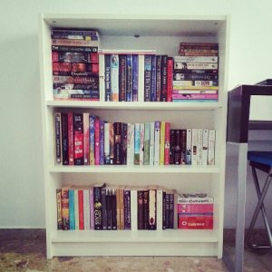 Moving - filled bookshelf