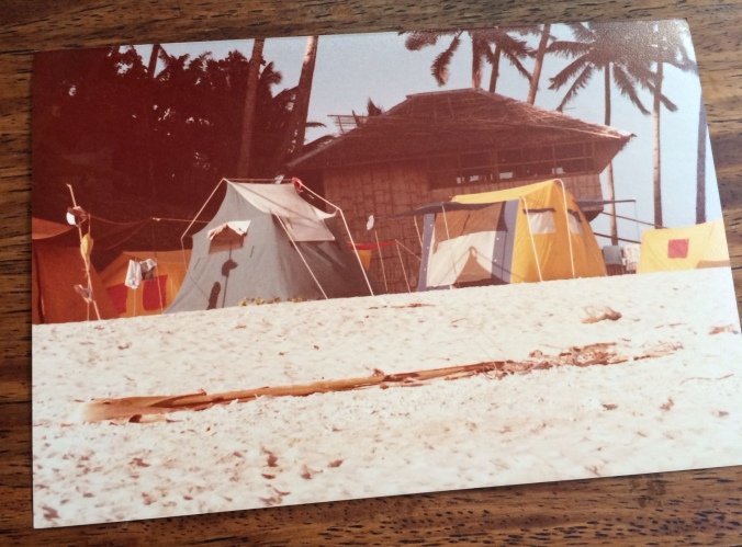 I cannot believe I found this photo of the tents and the house! I wrote this post before looking for photos. The yellow and blue one was ours.