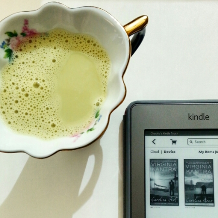 Matcha soy milk with Virginia Kantra's ebooks