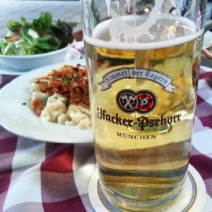 Munich - cheese spatzle with Radler