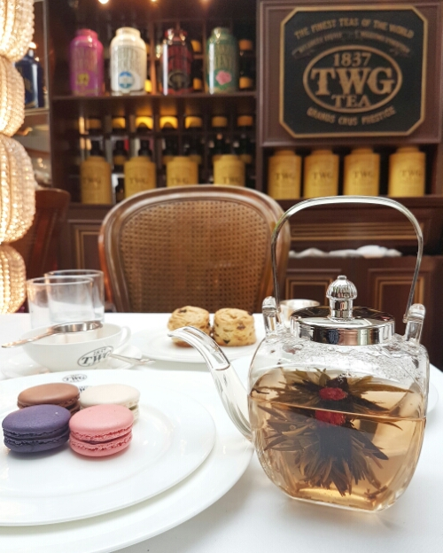 TWG cafe - flower tea, scones and macarons