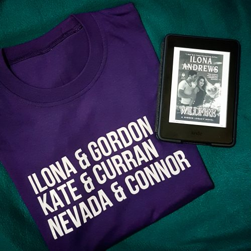 Ilona and Gordon shirt and Wildfire on Kindle